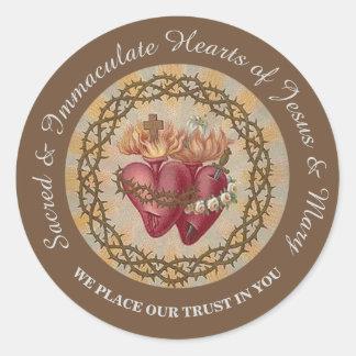 Coeurs de PERSONNALISER des épines de roses de Sticker Rond