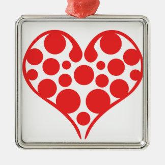 Coeurs de point de polka ornement carré argenté