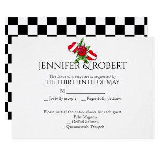 Coeurs de rockabilly et carte rose de réponse de carton d'invitation 8,89 cm x 12,70 cm