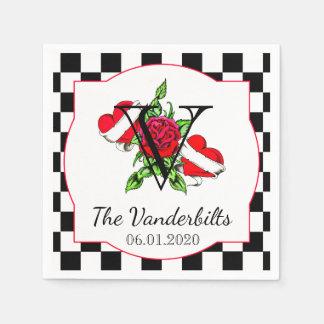 Coeurs de rockabilly et serviette rose de mariage serviettes en papier