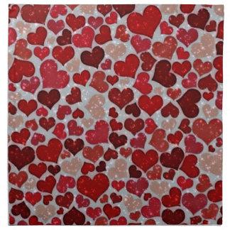 Coeurs de scintillement, serviettes en tissus