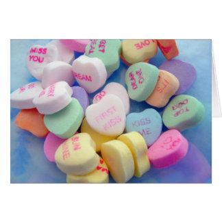 Coeurs de sucrerie cartes de vœux