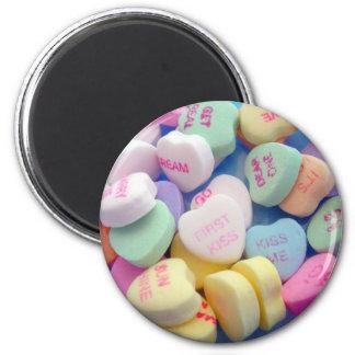 Coeurs de sucrerie magnet rond 8 cm