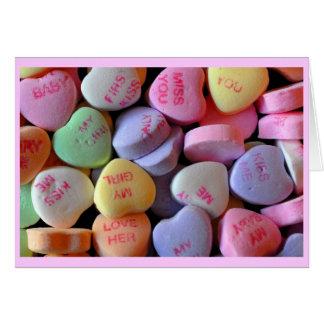 Coeurs de sucrerie pour la Saint-Valentin Cartes