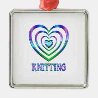 Coeurs de tricot ornement carré argenté