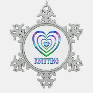 Coeurs de tricot ornement flocon de neige pewter