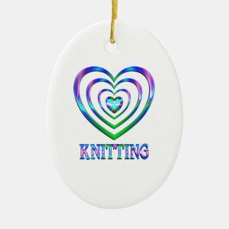 Coeurs de tricot ornement ovale en céramique