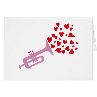 Coeurs de trompette carte de vœux