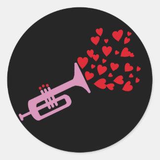 Coeurs de trompette sticker rond