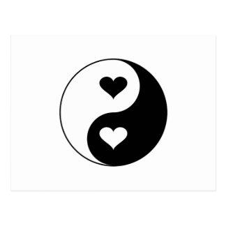 Coeurs de Yin Yang Carte Postale