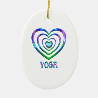 Coeurs de yoga ornement ovale en céramique