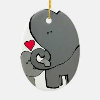 Coeurs d'éléphant - un amour d'Unforgetable Ornement Ovale En Céramique