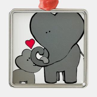 Coeurs d'éléphant - un amour inoubliable ornement carré argenté