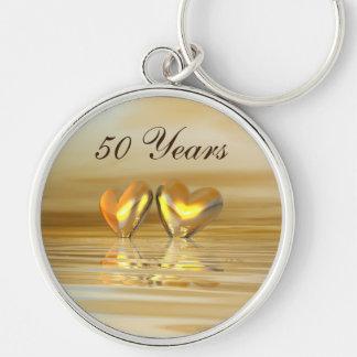 Coeurs d'or d'anniversaire porte-clef