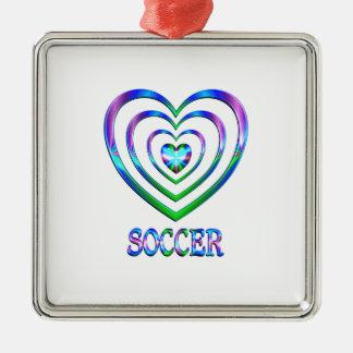 Coeurs du football ornement carré argenté