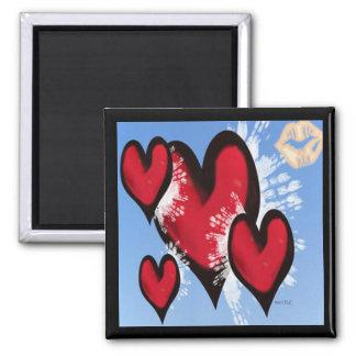 Coeurs et baisers magnet carré