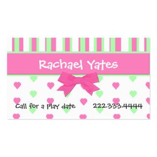 Coeurs et carte de date roses et verts de jeu de carte de visite standard