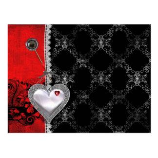 Coeurs et dentelle carte postale