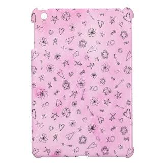 Coeurs et étoiles girly roses de motif d'aquarelle coques pour iPad mini