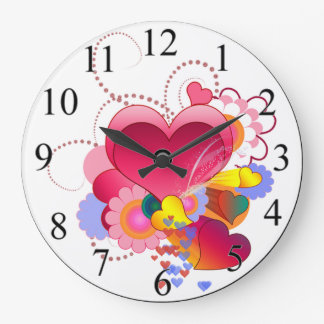 Coeurs et fleurs grande horloge ronde