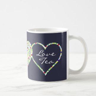 Coeurs et fleurs, tasse de thé d'amour