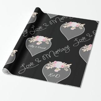 Coeurs et mariage personnalisés de tableau de papier cadeau