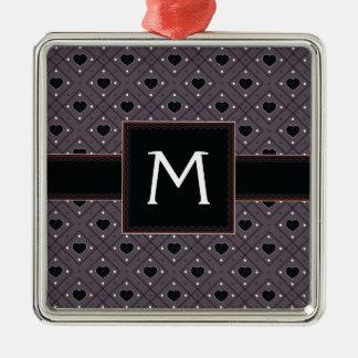 Coeurs et motif noirs de plaid de points avec ornement carré argenté