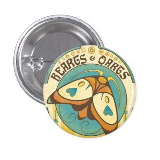 Coeurs et Pin de bouton de mite de Nouveau d'art Badge Rond 2,50 Cm