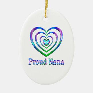 Coeurs fiers de Nana Ornement Ovale En Céramique