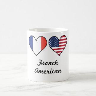 Coeurs français de drapeau américain mug