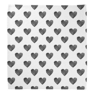 Coeurs griffonnés par noir bandanas