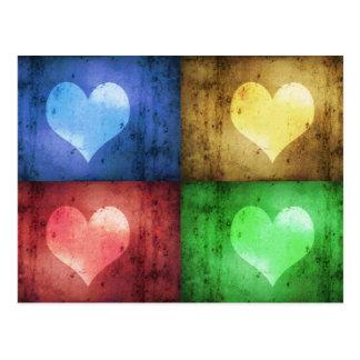 Coeurs grunges colorés - carte postale
