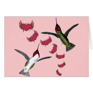 Coeurs grunges de colibris avec des ailes cartes de vœux