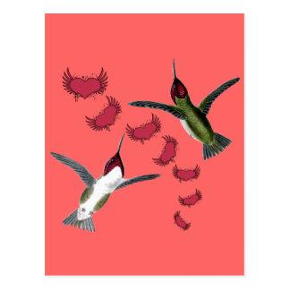 Coeurs grunges d'oiseaux de ronflement avec des carte postale