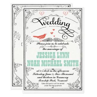 Coeurs lunatiques vintages en bon état et carton d'invitation  12,7 cm x 17,78 cm