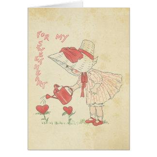 Coeurs mignons de fleur de fille de Saint-Valentin Carte De Vœux