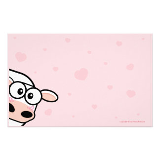 Coeurs mignons de vache et d'amour sur le rose papier à lettre personnalisé