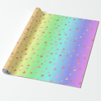 Coeurs minuscules sur le papier en pastel papiers cadeaux