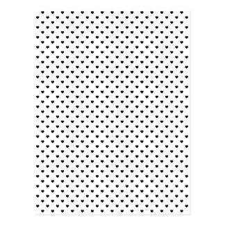 Coeurs noirs de Polkadot sur le blanc Carte Postale
