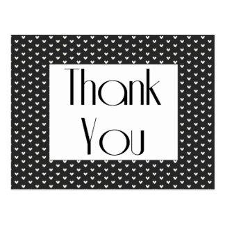 Coeurs noirs et blancs de rétro Merci saluant Carte Postale