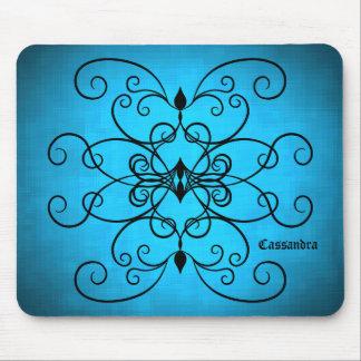 Coeurs noirs et bleus et remous personnalisés tapis de souris