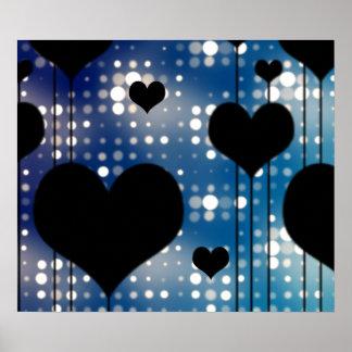 Coeurs noirs et lumières bleues affiches