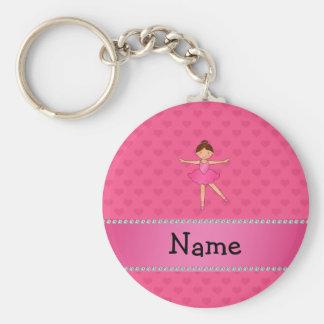 Coeurs nommés personnalisés de rose de ballerine porte-clef