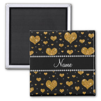 Coeurs nommés personnalisés de scintillement d'or aimants pour réfrigérateur