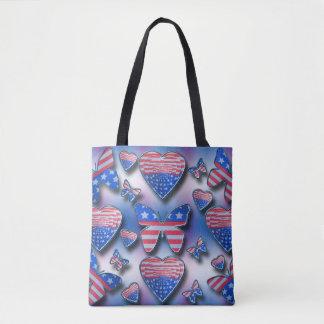 Coeurs patriotiques de papillons tote bag