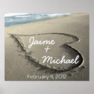 Coeurs personnalisés dans le cadeau de mariage de  posters