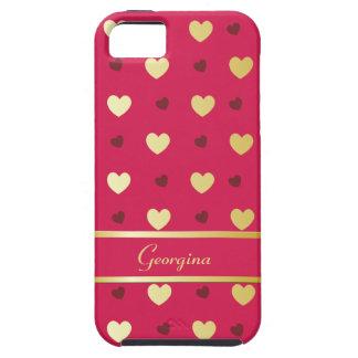 Coeurs personnalisés d'or sur couleur cerise étuis iPhone 5