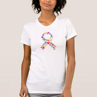 Coeurs pour le T-shirt multicolore de Cancer