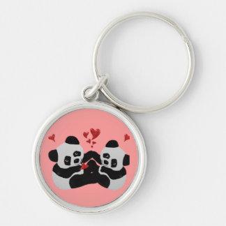 Coeurs précieux de panda porte-clefs