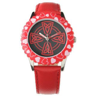 Coeurs réglables de rouge d'acier inoxydable de montres bracelet
